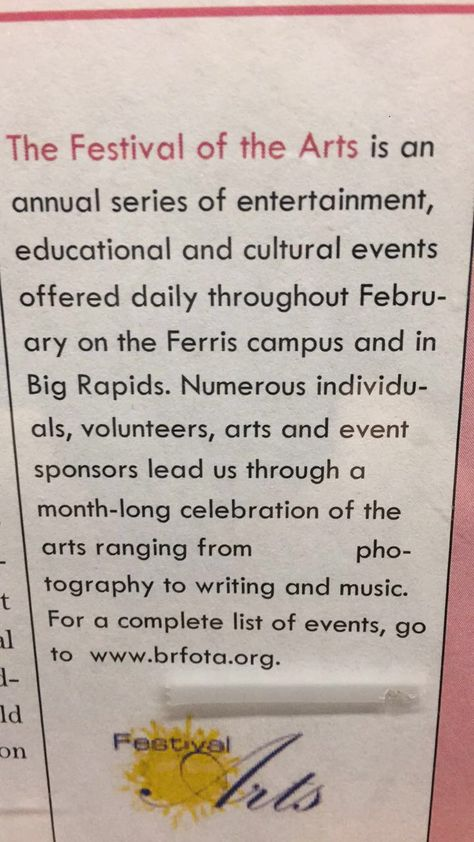 Giant Space In The Middle Of The Paragraph Art Event Cultural Events Big Rapids