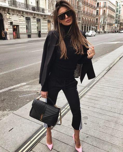Black blazer and YSL classic large college satchel handbag for elegant street style.