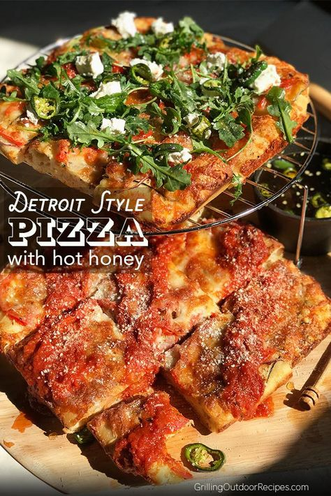 Detroit Style Pizza Topped With Hot Honey Recipe Food Recipes