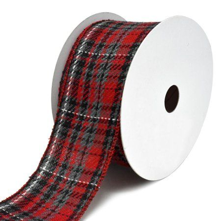 2-1//2-Inch 10-Yard Twill Peppermint Plaid Wired Edge Christmas Ribbon
