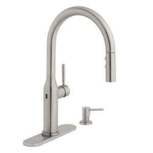Glacier Bay Upson Single Handle Touchless Pull Down Kitchen Faucet With Turbospray And Fastmount And Soap Dispenser In Stainless Hd67857 0008d2 The Home Depot Kitchen Faucet Faucet High Arc Kitchen Faucet