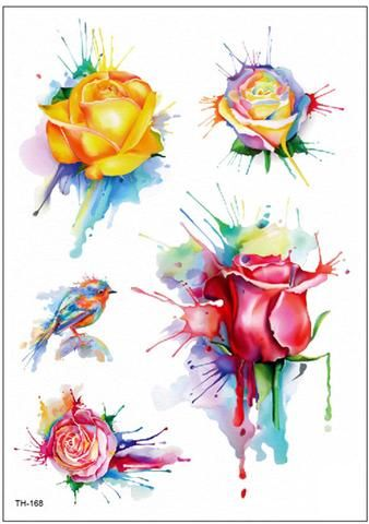 Rita Colorful Watercolor Melting Splat Floral Rose Flower