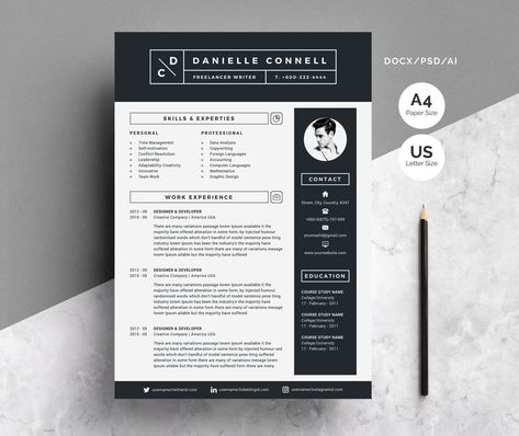 Resume Cv Template Clean Modern And Professional Resume And Letterhead Design Fully Customizable Easy To Use And Replace Color Te Template Cv Resume Ecole