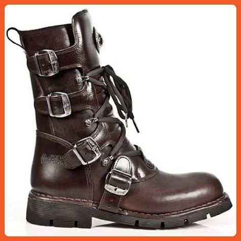 NOMADA BROWN LEATHER BOOTS WITH ZIP LACE UP NEW ROCK M.1473-S8 ITALI BROWN