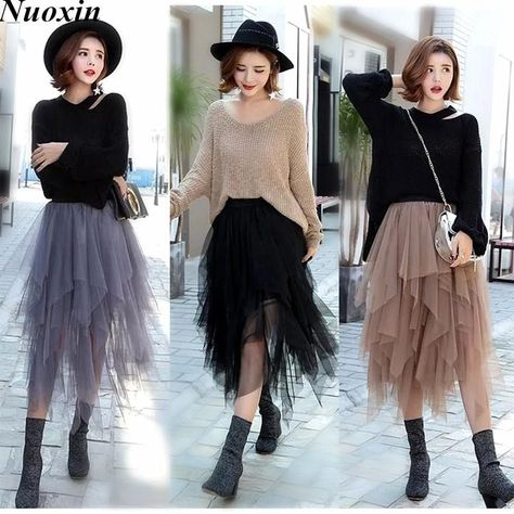 Gender: Women - Brand Name: nuoxin - Material: Lanon,Mesh - Style: Fashion - Pattern Type: Solid - Dresses Length: Mid-Calf - Model Number: - Decoration: None - Silhouette: Ball Gown - Waistline: Natural