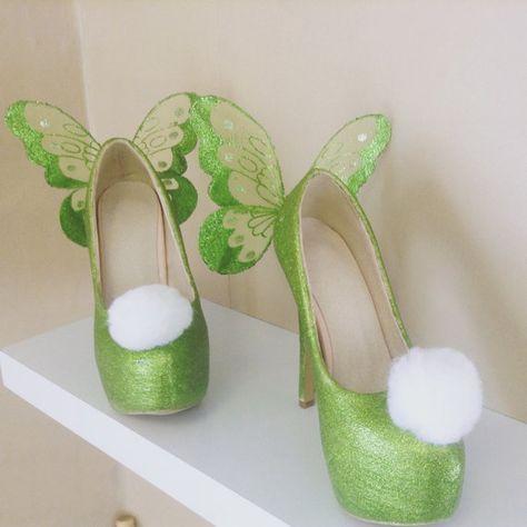 High Heeled Tinkerbell-Schuhe  grün von HappilyEverAfterB auf Etsy