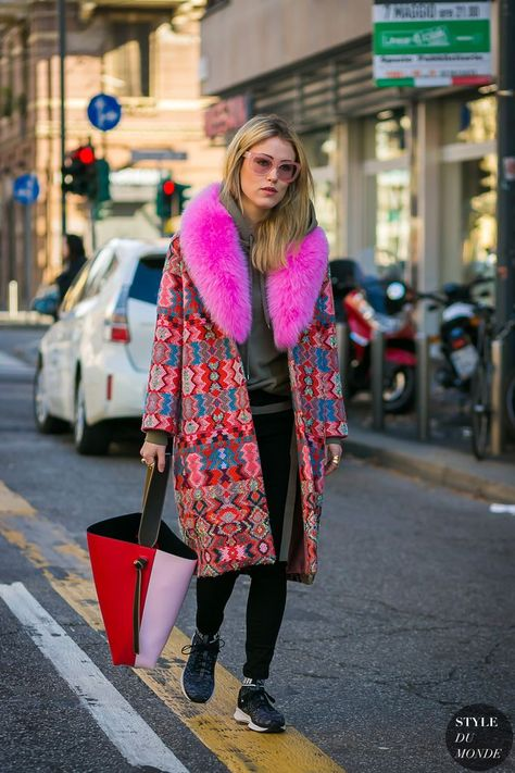 Milan Fashion Week Fall 2017 Street Style: Annabel Rosendahl, bright pink fur collar trim, colorful coat with fuchsia pink faux fur collar