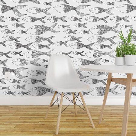 Peel And Stick Removable Wallpaper Fish Nautical Ocean Sketch School Of Black Walmart Com In 2021 Removable Wallpaper Wallpaper Doodle Fish Wallpaper
