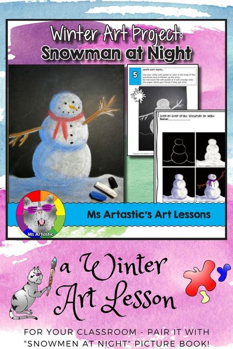 Winter Art Lesson, Snowman at Night