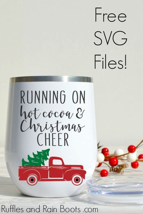 gift idea to make with a cutting machine free christmas truck svg and the free cocoa svg freesvg cricutmade cricut cricutexplore svgfiles