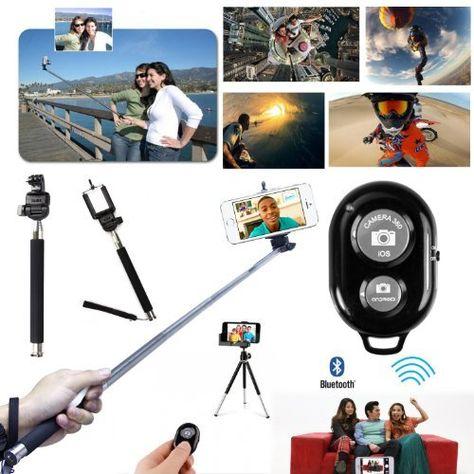 SAVFY® Pour iPhone 4 4s 5 5s 5c Lot 3en1 Déclencheur Bluetooth télécommande + Monopode perche + Adaptateur Support pour trépied (Extension Taille env. 88mm, rétractable Taille env. 53mm): Amazon.fr: Photo & Caméscopes