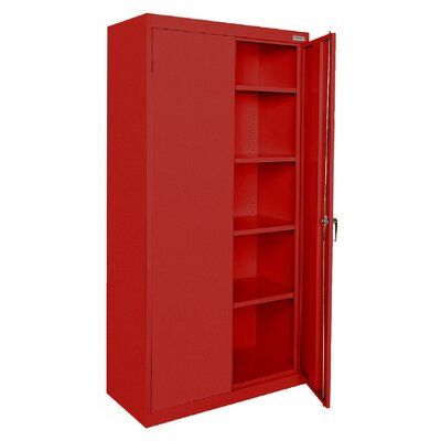 Sandusky Cabinets Classic Plus 2 Door Storage Cabinet Color Red Freestanding Storage Cabinet Adjustable Shelving Door Storage