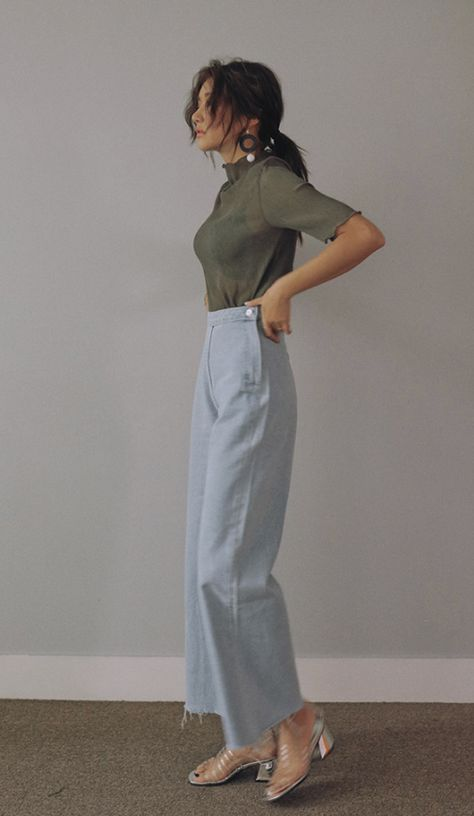 [Stylenanda] Frayed Hem Off-Center Closure Jeans