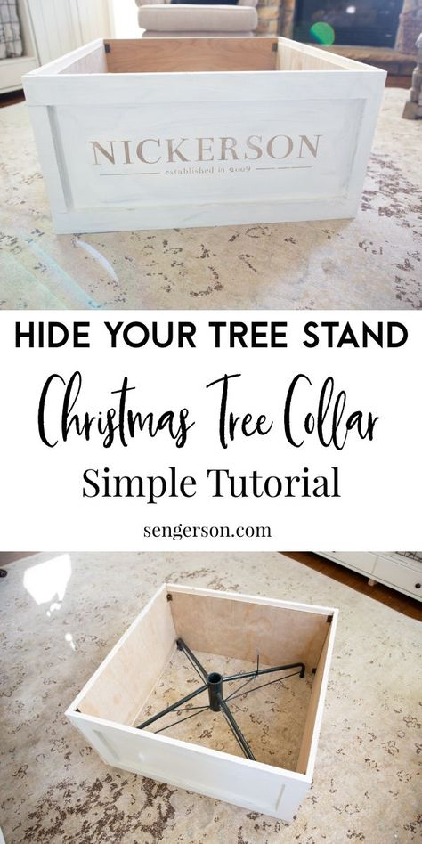christmas time This simple tutorial will show you how to make a Christmas Tree collar to hide the ugly metal pole from your artificial Christmas tree. This is a faux Christmas tree stand crate that you can use to hide your artificial Christmas tree stand! Winter Christmas, Christmas Time, Christmas Tree Boxes, Tree Collar Christmas, Merry Christmas Signs, Christmas Tree Stand Cover, Farmhouse Christmas Tree Skirts, Christmas Tree Outside, Diy Christmas Tree Topper