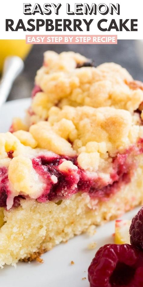 This easy Lemon Raspberry Cake is topped with delicious cookie-like streusel and filled with juicy raspberries! A buttery and moist lemon coffee cake with a layer of delicious raspberry filling that is perfect for spring and summer. Your guests will be begging you for the recipe! #CoffeeCakeRecipe #LemonRaspberryCake #Raspberries