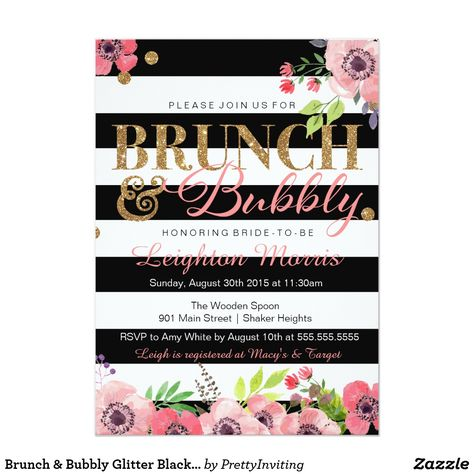 Brunch & Bubbly Glitter Black White Bridal Shower Card Bold and modern black and white stripe, with bright pink floral accent this faux gold glitter look for a brunch and bubbly bridal shower or birthday celebration invitation