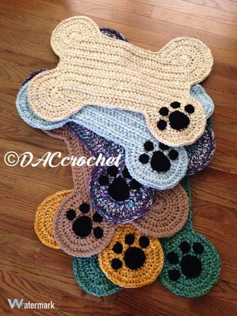 Crochet Pattern Dog Bone Placemat Pet Food Bowl Floor Mat Etsy Crochet Dog Crochet Projects Crochet
