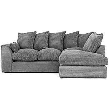 Porto Jumbo Cord Corner Sofa Settee Full Chenille Cord Fabric In Grey Jumbo Cord Grey Right Corner Sofa Living Room Decor Sectional Couch