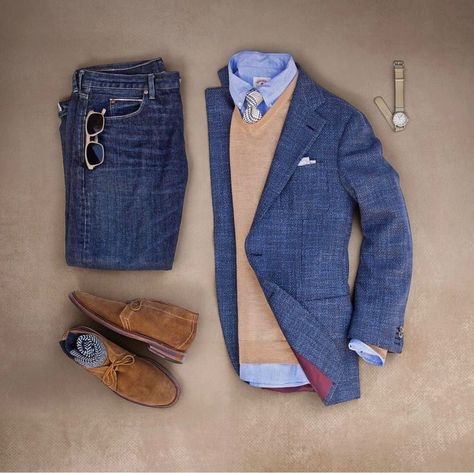 Smart casual outfit grid from ✨ Smart Casual Outfit, Casual Outfits, Mens Smart Casual Shoes, Smart Casual Menswear, Fashion Mode, Look Fashion, Daily Fashion, Classic Fashion, Fashion Wear