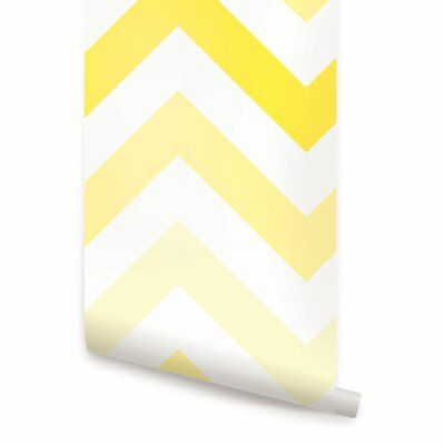 Simple Shapes Peel And Stick Wallpaper Panel Color Yellow Size 9 X 24 In 2020 Chevron Wallpaper Locker Wallpaper Wallpaper Panels