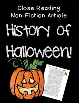"""Close Read: History of Halloween FREEBIE ....Follow for Free """"too-neat-not-to-keep"""" teaching tools & other fun stuff :)"""