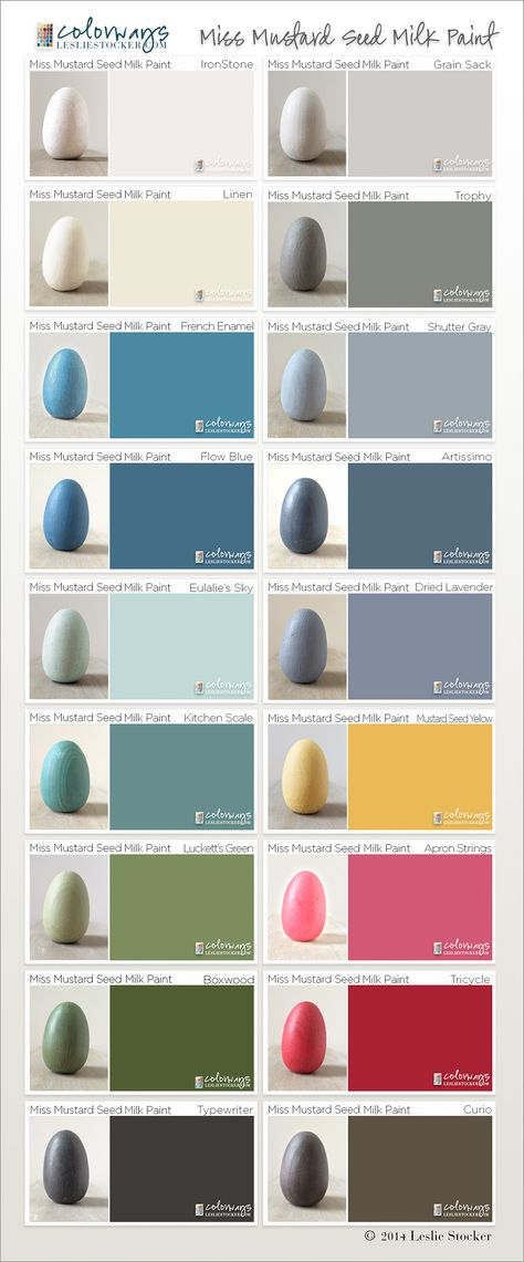 Miss Mustard Seed Milk Paint Swatch Book II. Wooden eggs hand painted with the 18 colors of MMS Milk Paint and photographed. Swatches taken from hand painted samples scanned into...