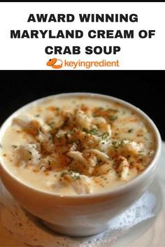 Award Winning Maryland Cream of Crab Soup Recipe - Soups Recipes Maryland Cream Of Crab Soup Recipe, Maryland Crab Soup, Maryland Recipe, Crab Stew Recipe, Maryland Crab Cakes, Fish Recipes, Seafood Recipes, Cooking Recipes, Gourmet