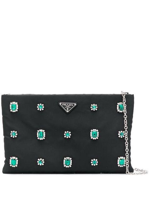 Prada crystal flower clutch bag Black