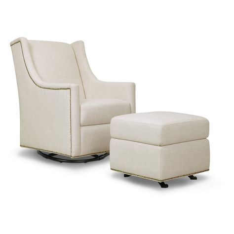 Terrific Carters By Davinci Adrian Swivel Glider In Cream With Ottoman Pabps2019 Chair Design Images Pabps2019Com