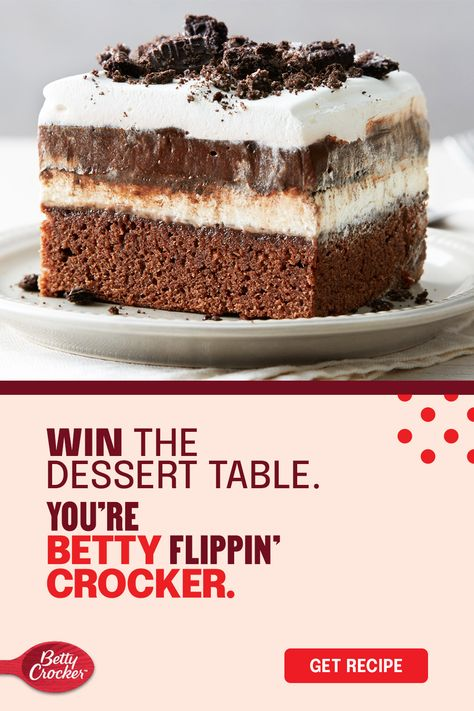 Thanksgiving may be known for pumpkin spice, but you're #bettyflippincrocker — so show up with the unexpected. Betty Crocker Fudge Brownie Mix gives this Thanksgiving dessert a fudge brownie layer before topping it with whipped cream cheese and crushed Oreo cookies. It's an easy holiday dessert that's perfect for any gathering.