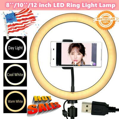 8 10 12 Inch Led Ring Light Lamp Selfie Phone Studio Video Makeup Dimmable H Ebay In 2020 Led Ring Light Led Ring Lamp Light