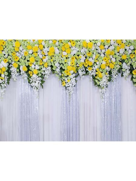 meego white yellow flower curtain wall