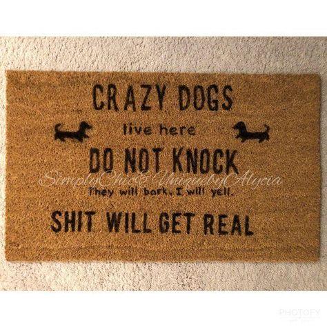 Crazy dogs do not knock sign doormat they will bark shit | Etsy #einrichten #wohnzimmerideen #wohnzimmer #schlafzimmer - #crazy #doormat #einrichten #knock #schlafzimmer #wohnzimmer #wohnzimmerideen
