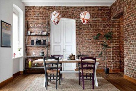 39 Ideas Kitchen Ideas Industrial Exposed Brick Living Rooms Brick Living Room Trendy Dining Room Charming Dining Room