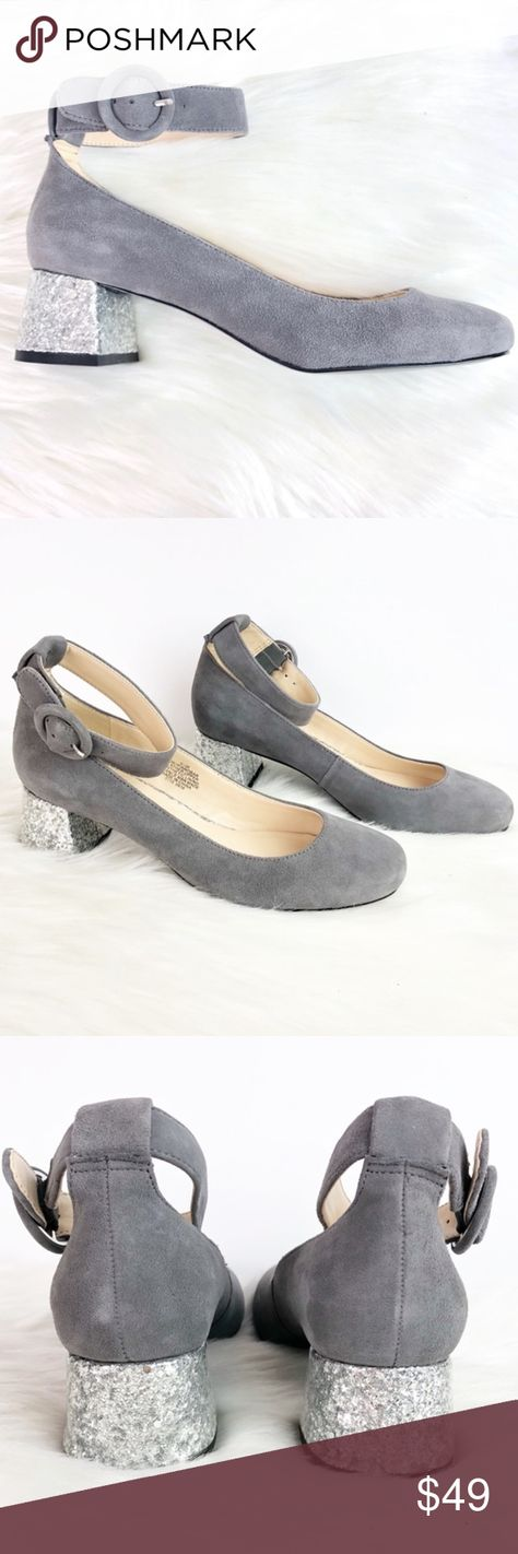 87a2fb065b30 NWOT Nine West Suede Glitter Block Ankle Heels These adorable shoes add  something special to every outfit! Grey leather suede with a round toe and  chunky ...