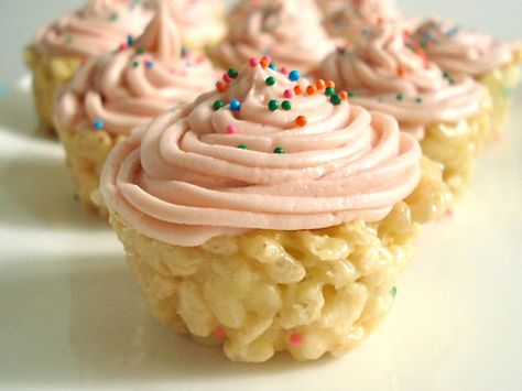 Cake Batter Rice Krispies Cupcakes