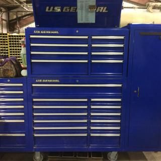 44 In Double Bank Blue Top Chest Tool Chest Rolling Tool Box Harbor Freight Tools