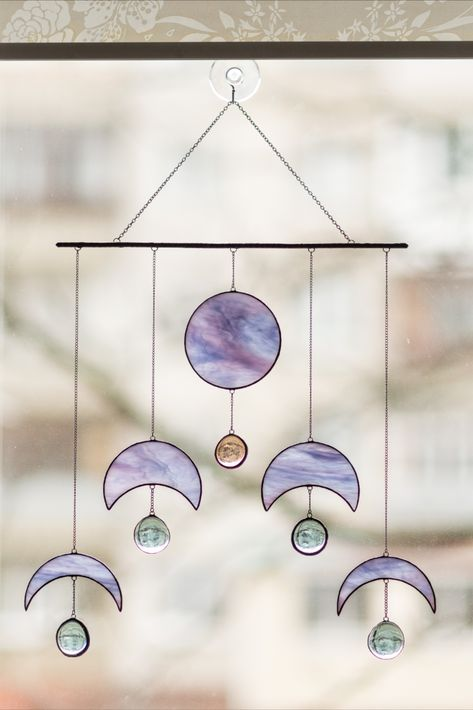 Moon Phase Suncatcher Stained Glass Wall Hangings Celestial Decor for Home Stained Glass Suncatchers, Stained Glass Designs, Stained Glass Projects, Stained Glass Patterns, Stained Glass Art, Stained Glass Windows, Mosaic Glass, Fused Glass, Stained Glass Window Hangings
