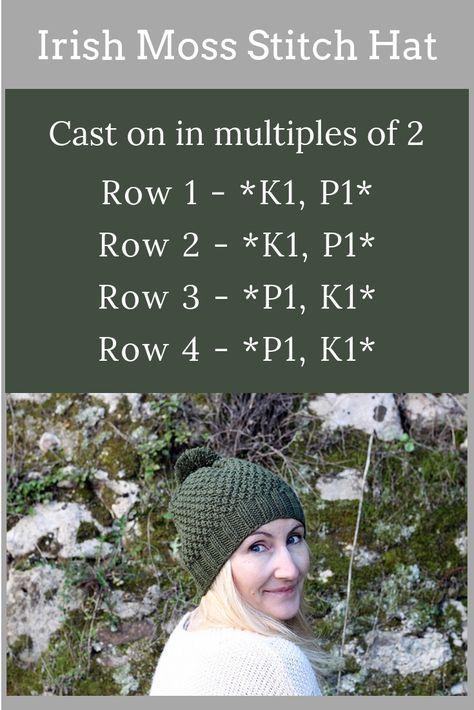Irish Moss Stitch Hat Pattern   Loom Knitting   Knitting patterns
