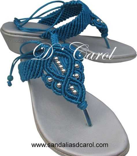 Sandalias macramé Dcarol Azul playa Clave: 012 a $419.00