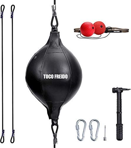 Toco Freido Double End Punching Ball With Boxing Reflex Ball Pump Headband Perfect For Gym Mma Boxing Sports Pu Mma Boxing Punching Bag Martial Arts Workout