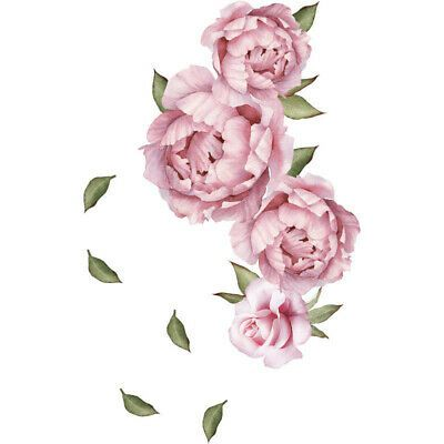 Large Peony Rose Flower Art Wall Sticker Living Room Home Background DIY Decal