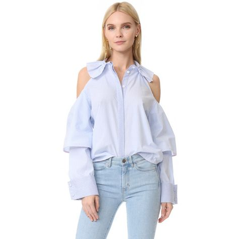 Women's T shirt with buttons in the back and flounce from waist