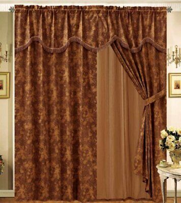 Details About 8 Pc Brown Bronze Faux Suede Curtains Panels Drapes