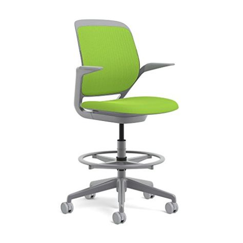 Steelcase Platinum Base With Hard Floor Casters Cobi Stool Wasabi