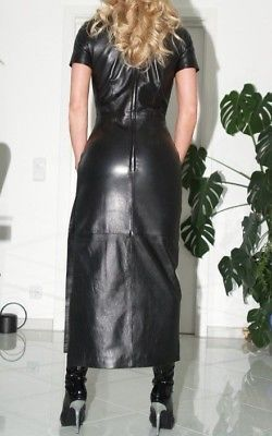 Details about WOMEN REAL GENUINE LAMBSKIN LEATHER DRESS PLUS ...