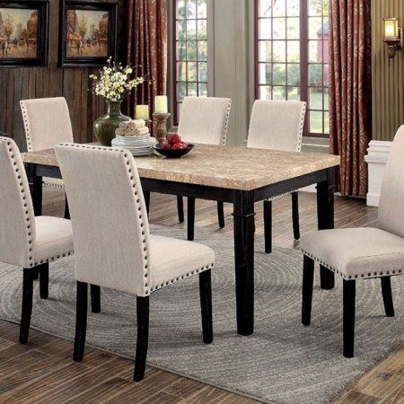 Dodson I Marble Top Transitional Dining Table Black Finish Enchanting Dining Room Tables With Marble Top Inspiration Design