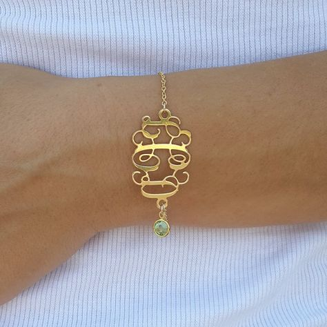 Peridot Jewelry Monogram Bracelet 1.2 inch- Personalized Monogram - 18K Gold Plated - 3 letters, any birthstone on Etsy, $43.99