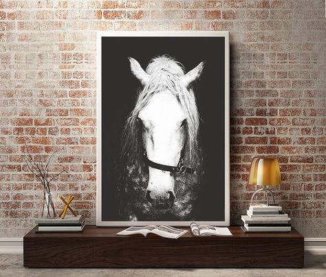 Blanco y negro fotografía, decoración de la pared del caballo, arte de la pared de caballo, caballo foto impresión, fotografía de animales, caballo
