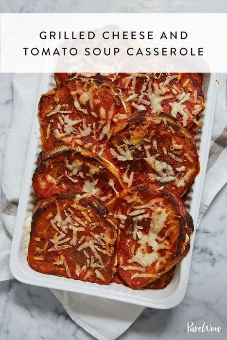 Grilled Cheese and Tomato Soup Casserole #purewow #food #main course #recipe #dinner #casserole #sandwich
